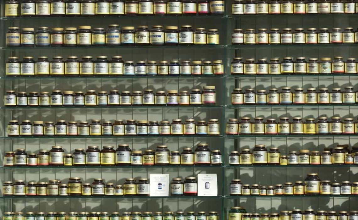 Vitamin bottles on the shelf